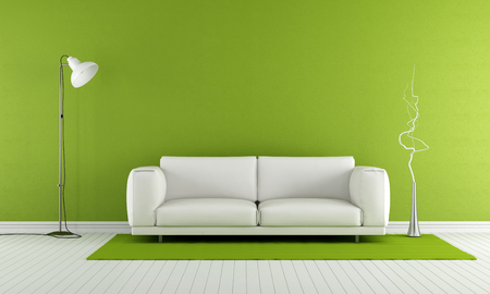 modern sofa: Green living room with white sofa and lamp - 3D Rendering Stock Photo