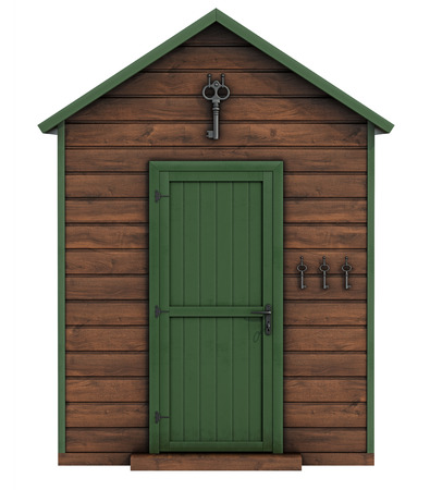 Wooden garden shed on white background Stock Photo