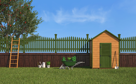 Garden with gardening tools,wooden shed ,fence and apple tree - 3D Rendering photo