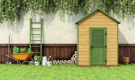 wheelbarrow: Garden with gardening  tools and wooden shed with closed door - 3D Rendering