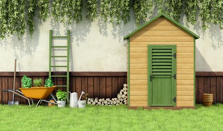carretilla: Jardín con herramientas de jardinería y cobertizo de madera con la puerta cerrada - Rendering 3D