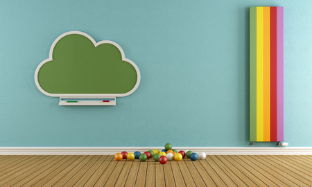 playroom: Child room with blackboard and colorful vertical heater - 3D Rendering