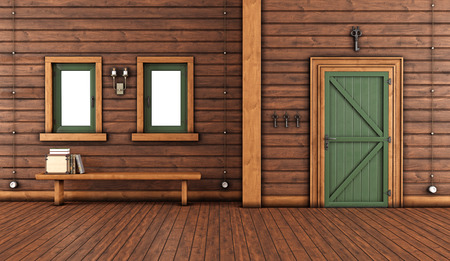 pilaster: Empty room of a mountain home with green front door and bench with books under windows - 3D Rendering Stock Photo