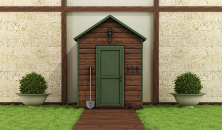 Classic garden with old shed ,stone wall and wooden floor - 3D Rendering photo