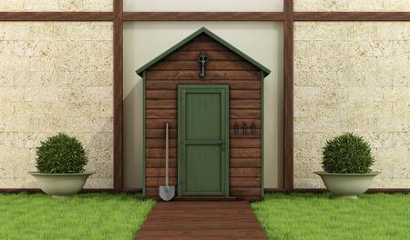 Klassieke tuin met oude schuur, stenen muur en houten vloer - 3D Rendering