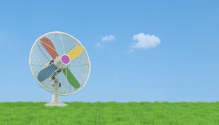 aire puro: Colorido ventilador eléctrico en el césped con el cielo azul en el fondo - 3D Rendering