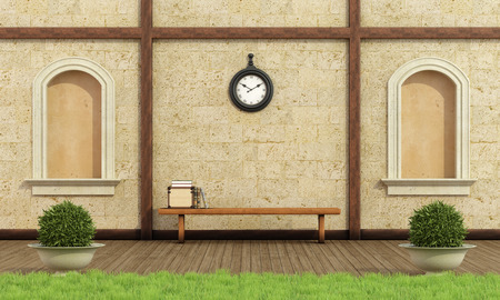 pilaster: Classic garden with two niche,stone wall and wooden bench with books - 3D Rendering