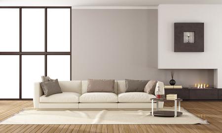 elegante: Longue minimaliste avec cheminée et elegante canapé Banque d'images