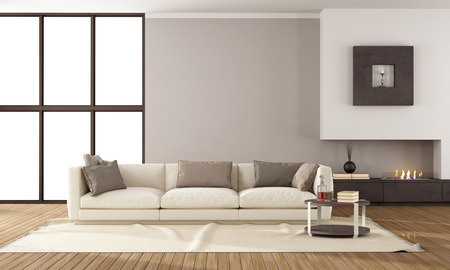 architecture design: Minimalist lounge with fireplace and elegante sofa Stock Photo