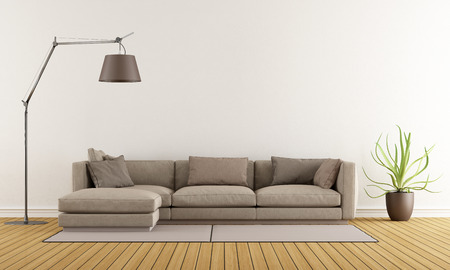 Moderní obývací pokoj s hnědým pohovkou na koberci a stojací lampa - 3D vykreslování