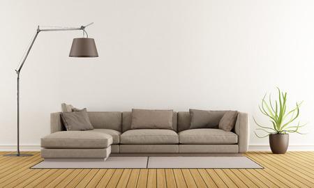 Salón moderno con sofá marrón en la alfombra y el piso de la lámpara - Rendering 3D