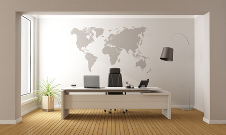 furniture: Minimalist office with desk and world map on wall - 3D Rendering Stock Photo