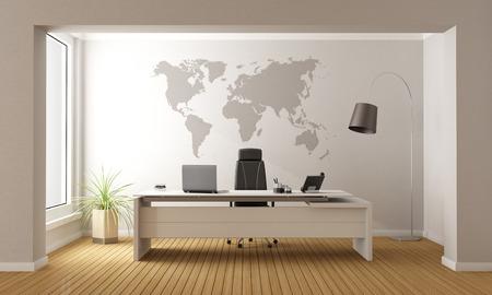 Minimalistische kantoor met bureau en kaart van de wereld op de muur - 3D-rendering