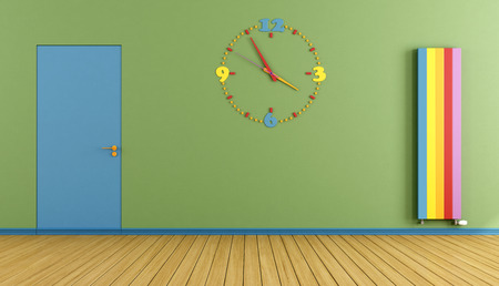 Empty Playroom with blue door colorful clock  and verical heater- 3D Rendering