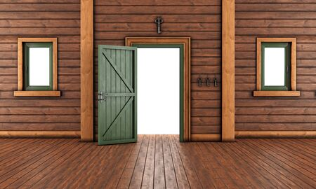 pilaster: Empty  entrance room of a wooden house with open front door and two windows - 3D Rendering Stock Photo