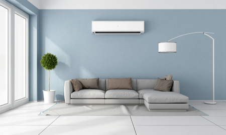 minimalist apartment: Blue living room with  gray sofa and air conditioner on wall - 3D Rendering