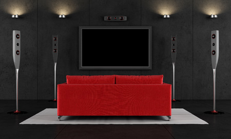 home theatre: Contemporary home cinema with red sofa - 3D Rendering