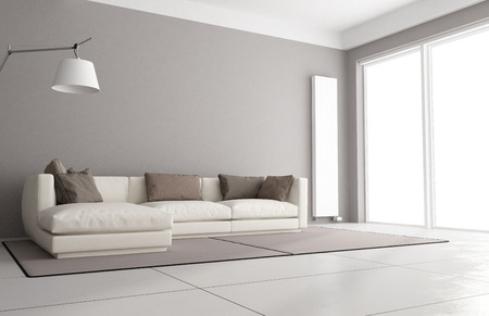 Minimalist living room with elegant sofa, floor lamp and large window - 3D Rendering Archivio Fotografico