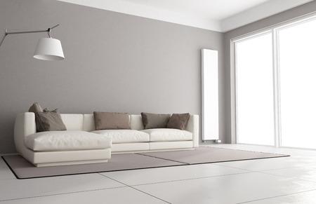 Minimalistische Wohnzimmer mit eleganten Sofa, Stehlampe und große Fenster - 3D-Rendering