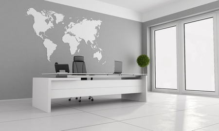 minimalist: Minimalist office with white desk and world map on wall - 3D Rendering Stock Photo