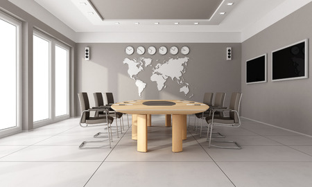 oficina: Sala de juntas contemporáneo con mesa de madera, pelo castaño y mapa del mundo en la pared - representación 3D