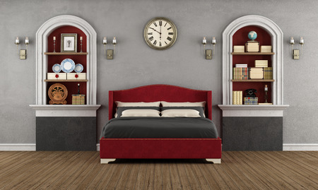 Vintage bedroom with classic double bed,niche and retro objects - 3D Rendering