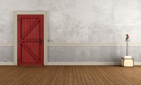 rosas rojas: Entrada de inicio de la vendimia con la puerta roja cerrada - Representaci�n 3D Foto de archivo