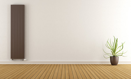 empty: Empty room with brown heater and plant - 3D Rendering