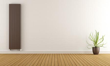 Lege ruimte met bruine kachel en plant - 3D-rendering