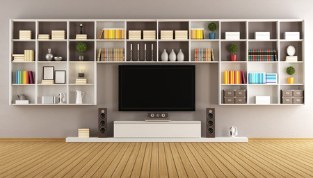 Bookcase: Modern living room with  large bookcase and television - 3D Rendering