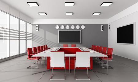 大きなミーティング テーブルと赤の現代的な会議室椅子 3 D レンダリング