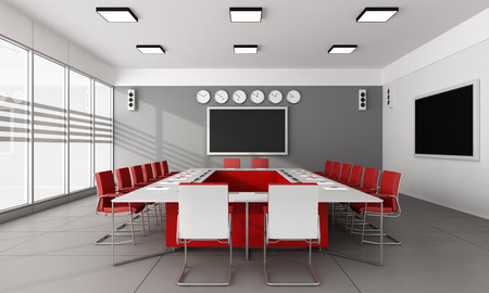 Contemporary  board room with large meeting table and red chairs  3D Rendering Standard-Bild