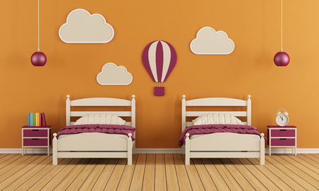 Childrens bedroom with two single beds and decoration on orange wall - 3D Rendering