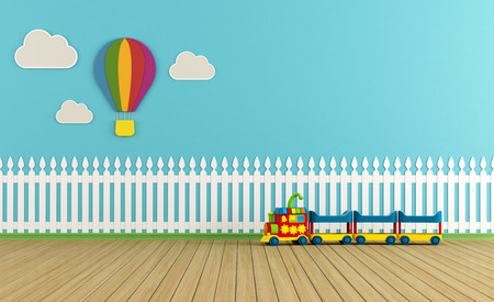 picket green: Empty child room with  fence,clouds and hot-air balloon on blue wall - rendering Stock Photo