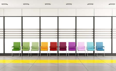 Waiting room with colorful chairs in front of a large window - 3D Rendering