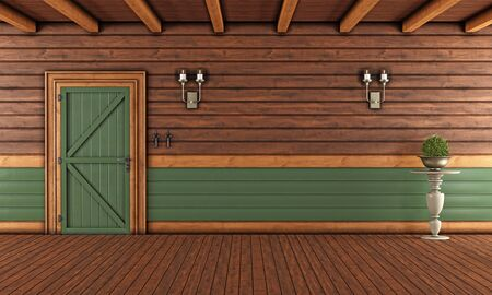 wood ceiling: Living room of a wooden house with closed front door without furniture - 3D Rendering