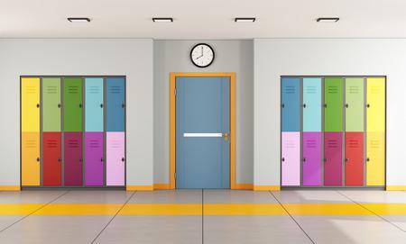 Interieur van een moderne school met kleurrijke student lockers en de deur van een klaslokaal 3D Rendering