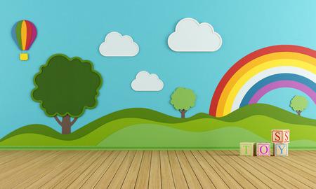 Dzieci: Kolorowy pokój zabaw z dekoracjami na ścianie i drzewa tablicy renderowania 3D Zdjęcie Seryjne