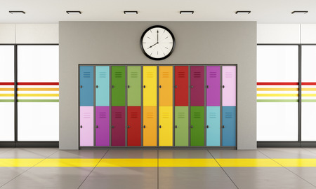 Interior of a modern school with colorful student lockers and large windows  3D Rendering