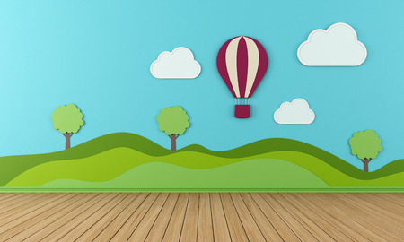 Empty child room with clouds  hotair and balloon on blue wall  rendering