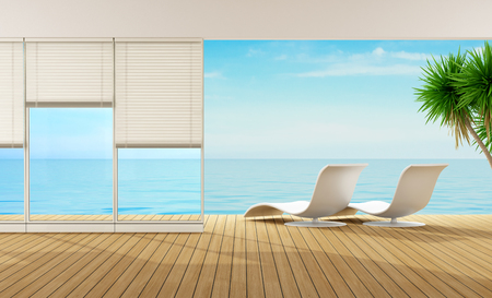Moderne salon d'une maison en bord de mer - Rendu 3D