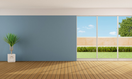 Empty living room with blue wall and large windows  3D Rendering