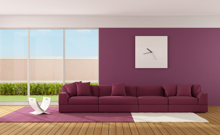 Minimalist living room with modern sofa on carpet  3D Rendering Stock Photo