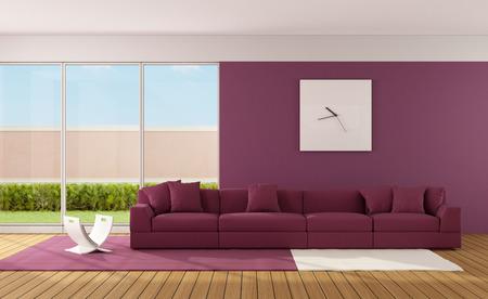 Minimalist living room with modern sofa on carpet  3D Rendering Standard-Bild