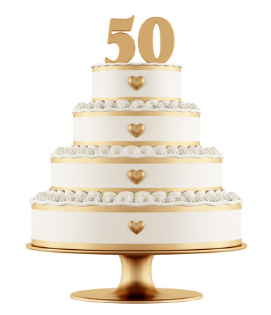 cake decorating: Golden wedding cake isolated on white background - 3D Rendering