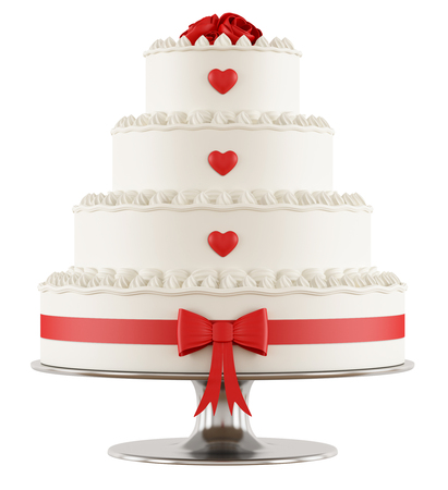 cake tier: Wedding cake with red roses,hearts and bow isolated on white - 3D Rendering