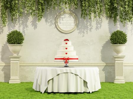 Pastel de bodas en una mesa redonda en la representación 3D elegante jardín Foto de archivo - 40499178