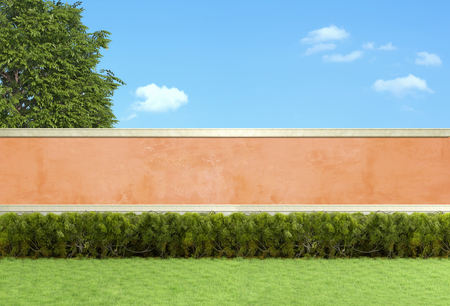 hedges: Empty garden with hedges against orange wall - 3D Rendering Stock Photo