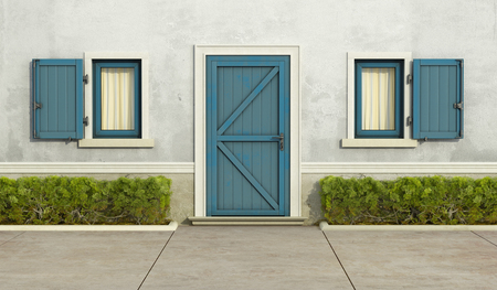 stucco facade: Old house with blue window and front door - 3D Rendering