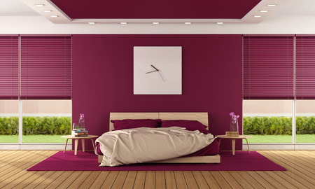 Contemporary bedroom with modern bedroom and large windows - 3D Rendering photo